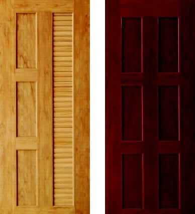 ประตู WPC - Kaizen(ไคเซ็น) DKW-04 (บานเกล็ดครึ่งบาน) สีสักทอง, DKW-02 (บาน 6 ฟัก) สีโอ๊คแดง