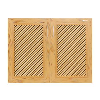 บานซิงค์คู่ WPC - Kaizen ZKW-2-01 สีสักทอง ขนาด(กว้างxสูงxหนา) 82x62.5x9.4 ซม.