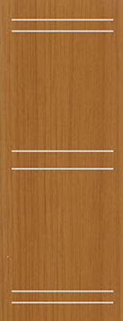 ประตู UPVC - Polywood (โพลีวูด) G-Series LPRM-05 บานทึบ-เซาะร่อง สีออเรนจ์ทีค