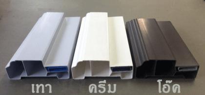 โครงสร้างภายในวงกบ PVC Polywood(โพลีวูด) สีเทา, ครีม, โอ๊ค