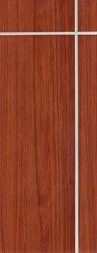 ประตู UPVC - Polywood (โพลีวูด) G-Series LPRM-02 บานทึบ-เซาะร่อง สีเรดเชอร์รี่
