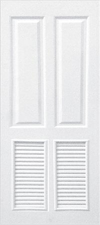 ประตู UPVC - Polywood(โพลีวูด) Revo Series PLR-005 บานเกล็ด สีขาว