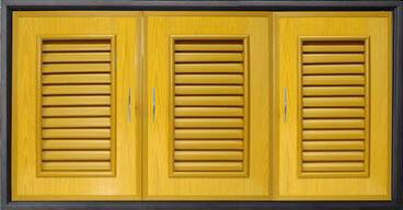 บานซิงค์ 3 ตอน PVC - Classic สีลายไม้สักทอง